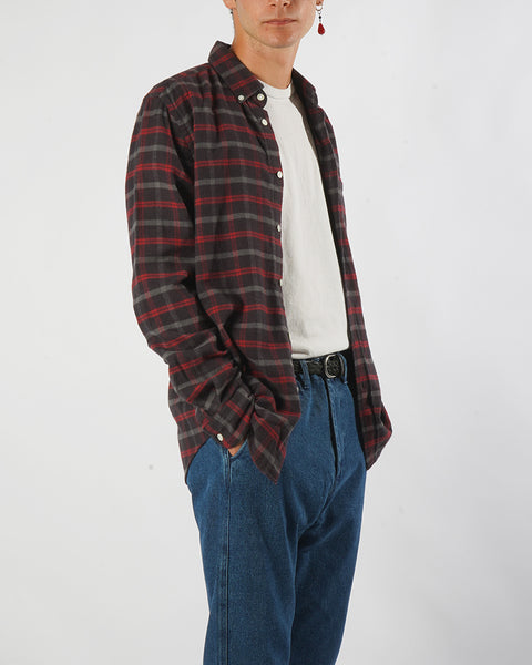 flannel shirt plaid brown red model side