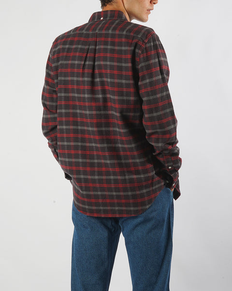 flannel shirt plaid brown red model back