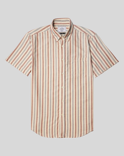 blue red striped short sleeve shirt product front