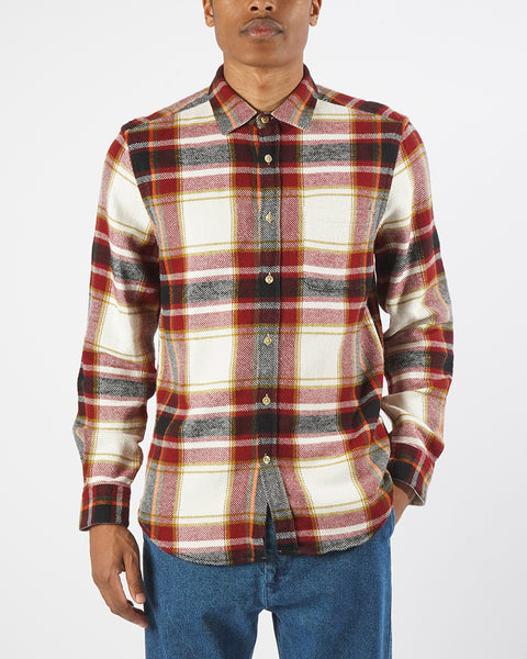 flannel shirt plaid red black white model front