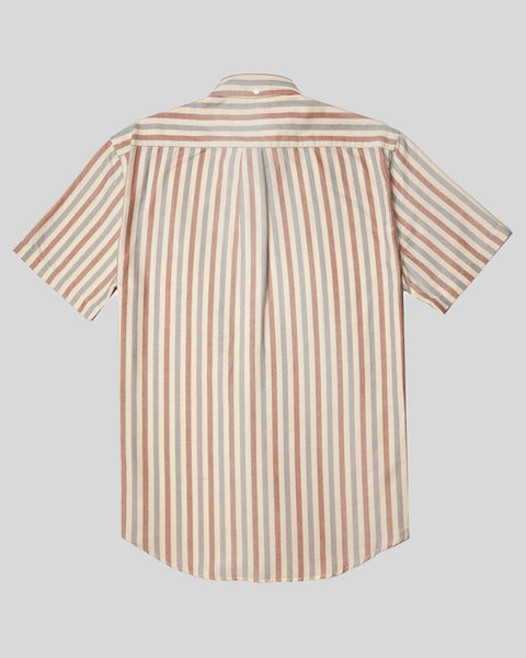 blue red striped short sleeve shirt product back