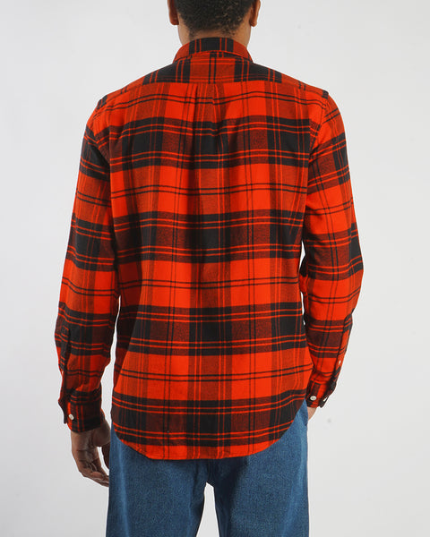 flannel shirt plaid red model back