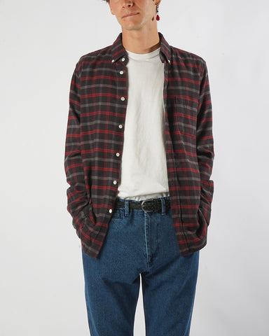 flannel shirt plaid brown red model front