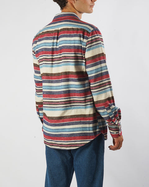 flannel shirt striped pink blue model side