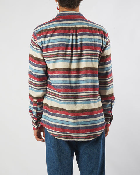 flannel shirt striped pink blue model back