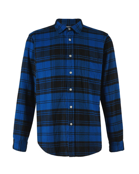 flannel shirt plaid blue black bust front