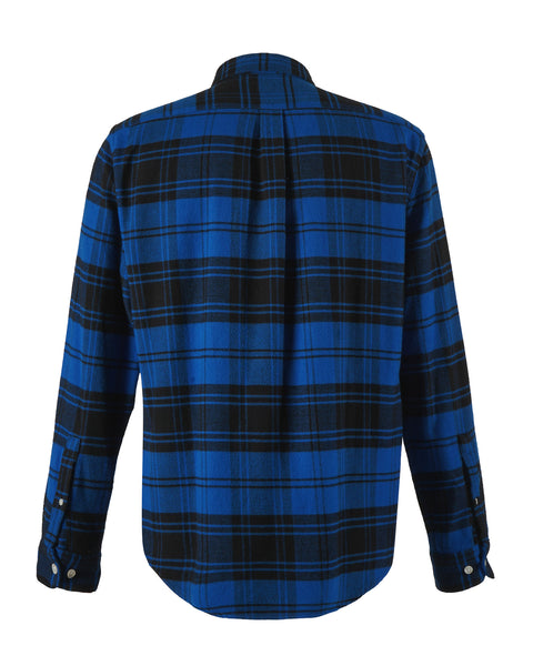 flannel shirt plaid blue black bust back