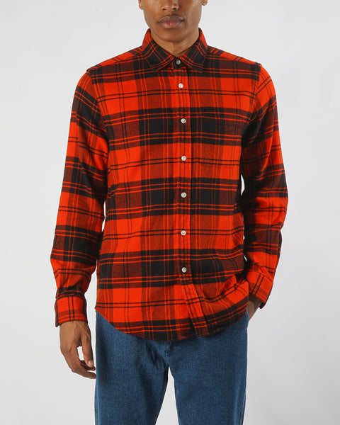 flannel shirt plaid red model front
