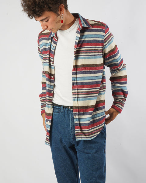 flannel shirt striped pink blue model front