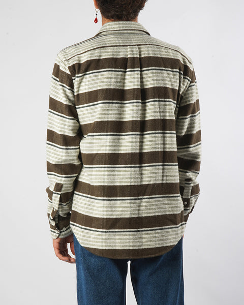 moss stripe shirt model back