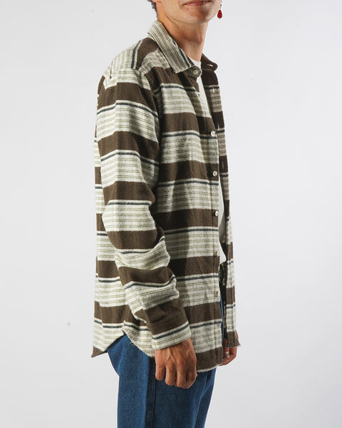 moss stripe shirt model side