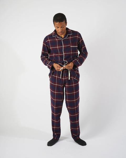 flannel pajama shirt plaid blue bordeaux model complete