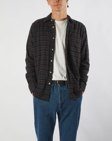 flannel shirt plaid green yellow model front