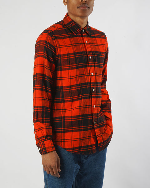 flannel shirt plaid red model side