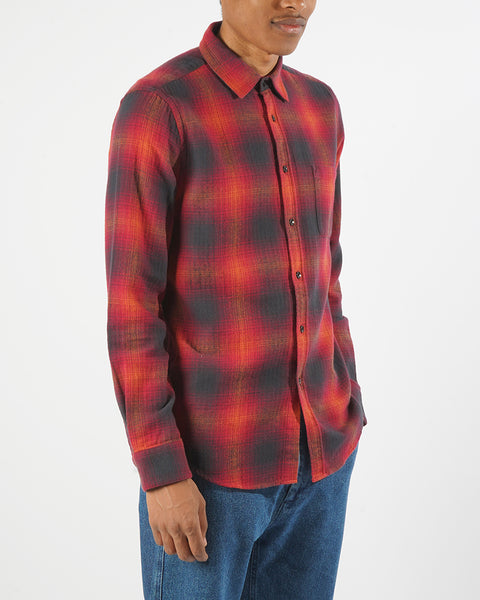 flannel shirt plaid red black model side