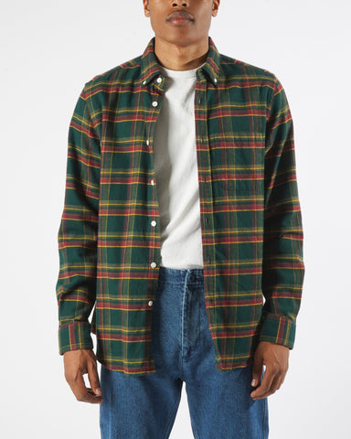 flannel shirt plaid green model front