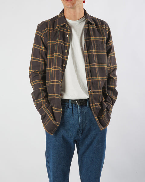 flannel shirt plaid brown yellow model front