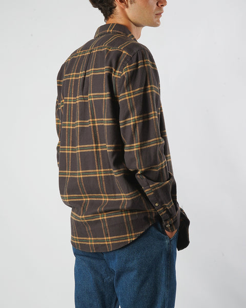 flannel shirt plaid brown yellow model side