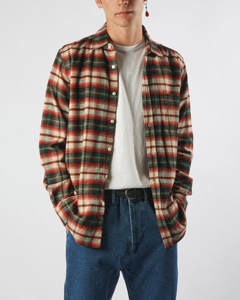flannel shirt plaid green red model front