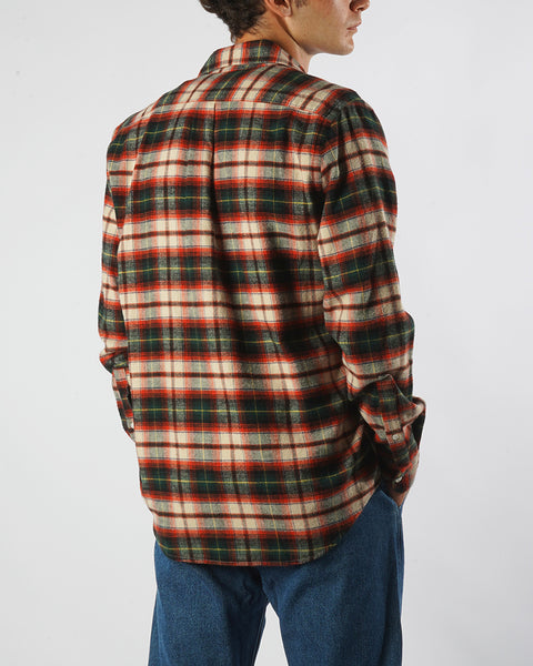 flannel shirt plaid green red model back