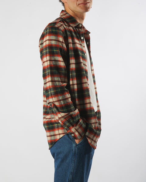flannel shirt plaid green red model side