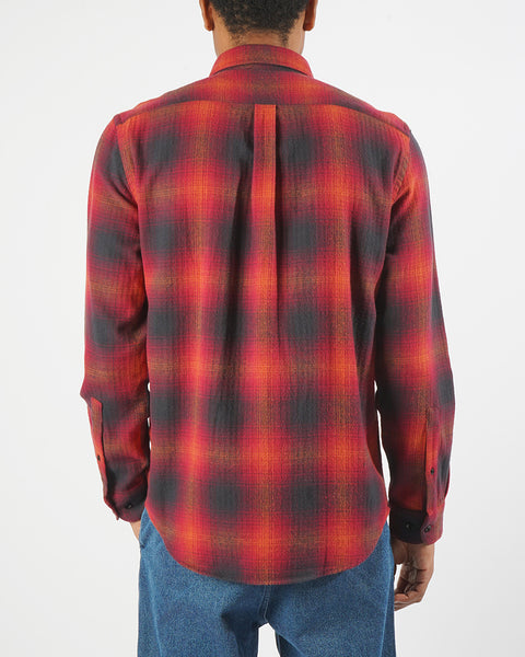 flannel shirt plaid red black model back