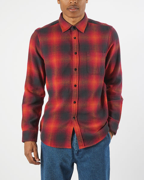 flannel shirt plaid red black model front