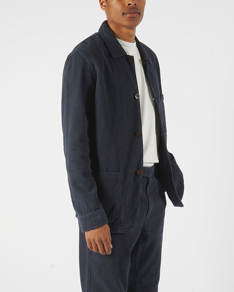 corduroy jacket navy blue model side