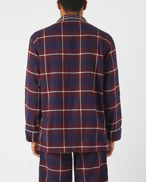 flannel pajama shirt plaid blue bordeaux model back