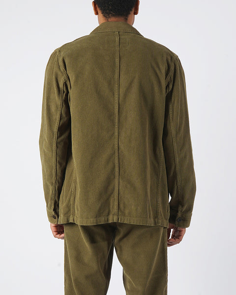 corduroy jacket olive model back