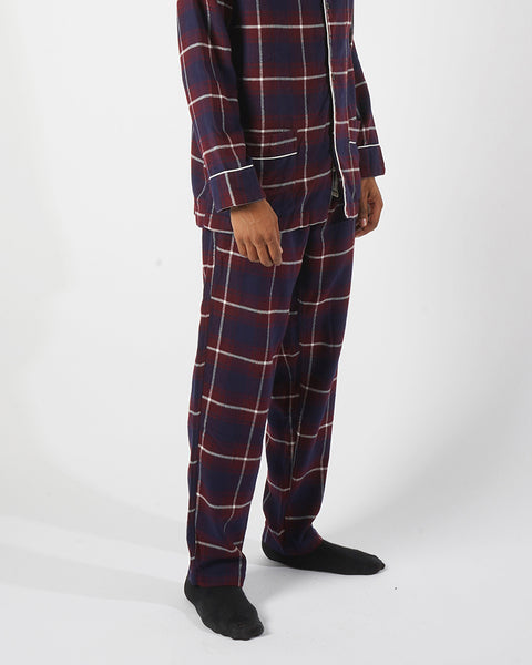 flannel pajama trousers plaid blue bordeaux model side