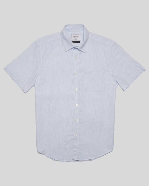 striped blue short sleeve shirt product front
