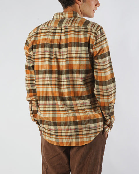 flannel shirt plaid orange brown model back