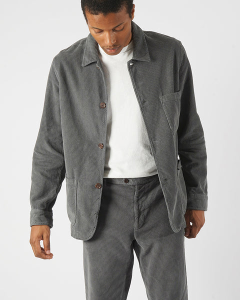 corduroy jacket grey model front