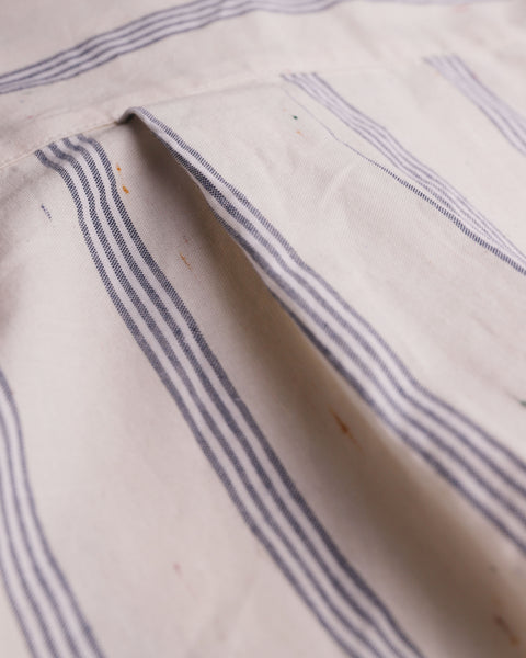 striped blue short sleeve shirt detail fabric