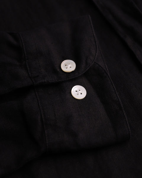 black linen long sleeve shirt detail buttons