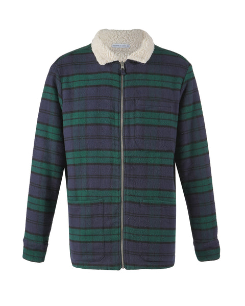 reversible jacket flannel green blue product front