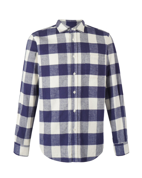 flannel shirt gingham blue bust front