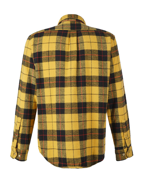 flannel shirt plaid yellow black bust back