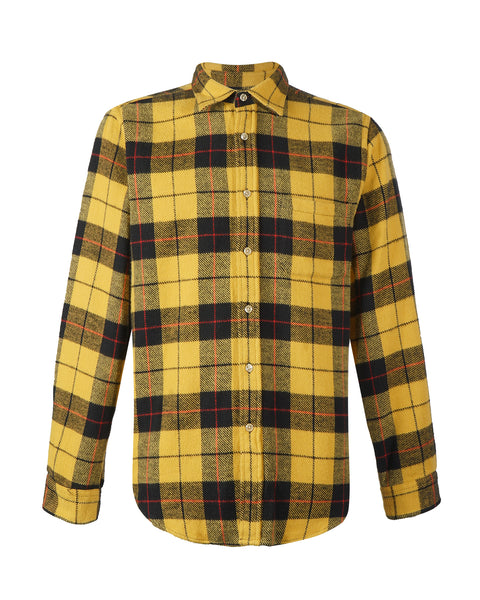 flannel shirt plaid yellow black bust front