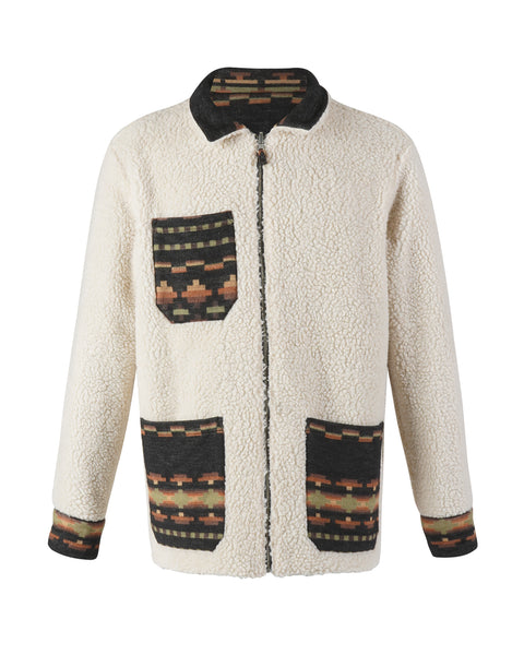 sherpa reversible jacket print bust front