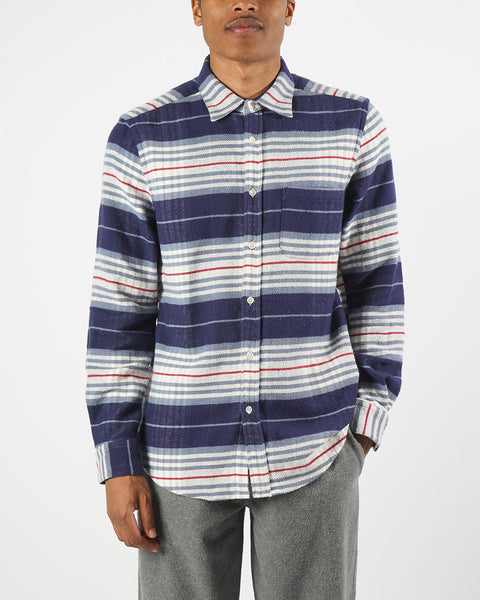 flannel shirt striped blue white model front