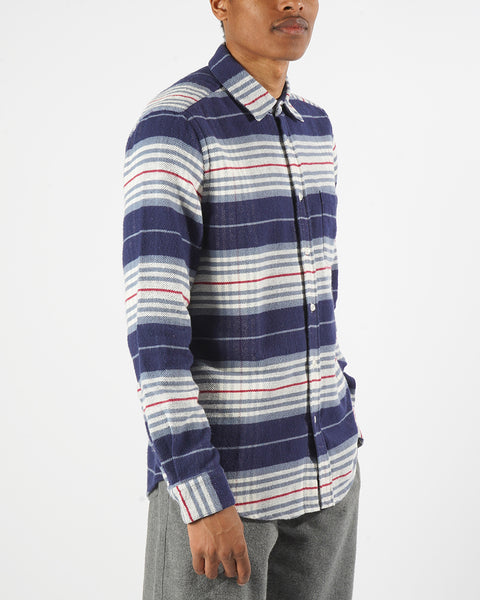 flannel shirt striped blue white model side