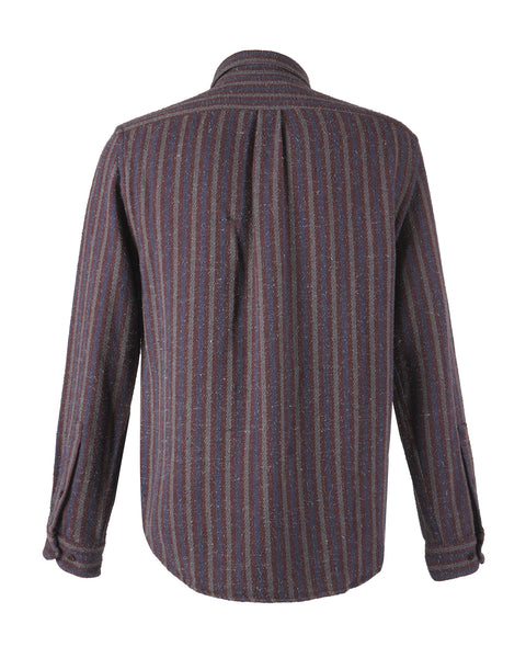striped long sleeve shirt blue bordeaux bust back