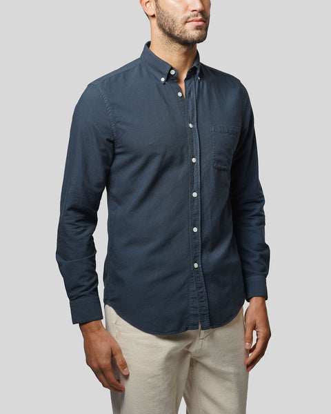 navy long sleeve shirt oxford model side