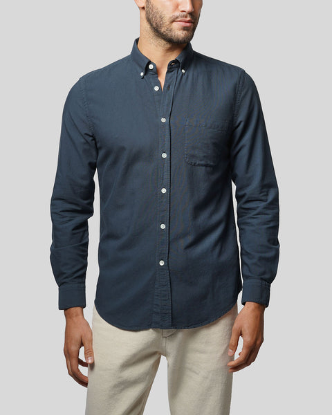 navy long sleeve shirt oxford model front
