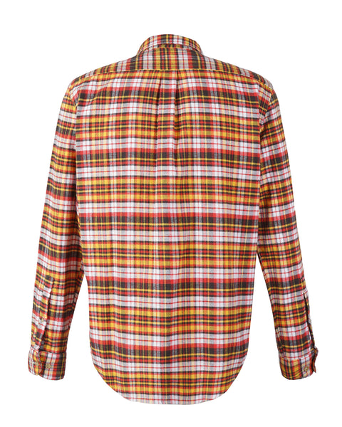 flannel shirt plaid yellow orange bust back