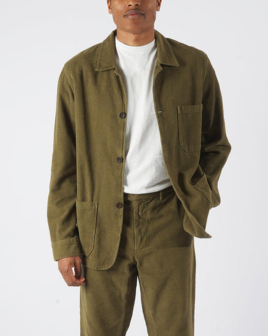 corduroy jacket olive model front