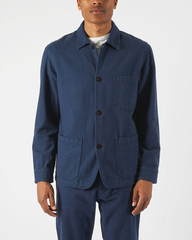 flannel jacket navy blue model front