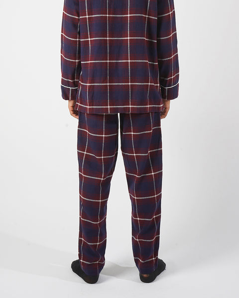 flannel pajama trousers plaid blue bordeaux model back